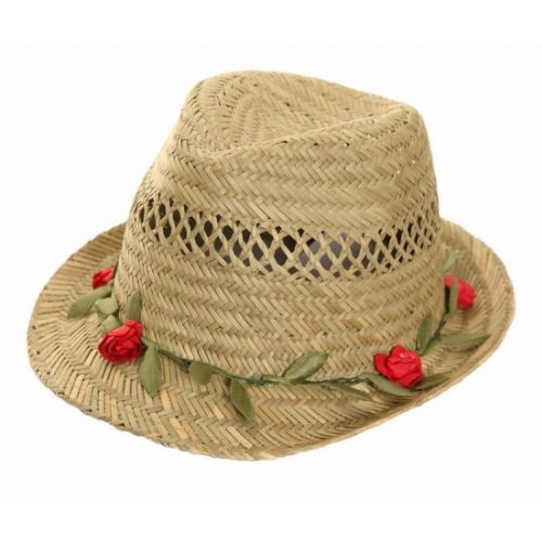 Ladies Straw Hat With Pretty Garland Flower Band